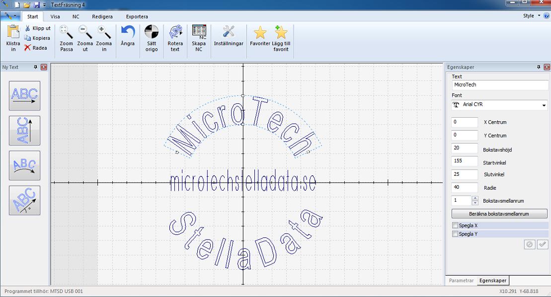 Skapa text på båge eller linje