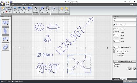 Symboler och text i olika teckensnitt